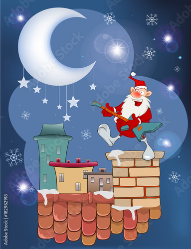 Staande foto Babykamer Illustration of the Cute Santa Claus Jazz Guitarist on the Roof