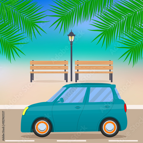 Fotobehang Auto Cute little car on the beach road, branches of palm trees, benches, street lamp. Vector illustration.