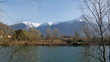 Panorama del lago di Mezzola in inverno