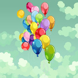 painted multicolored balloons flying in the sky - 182967308