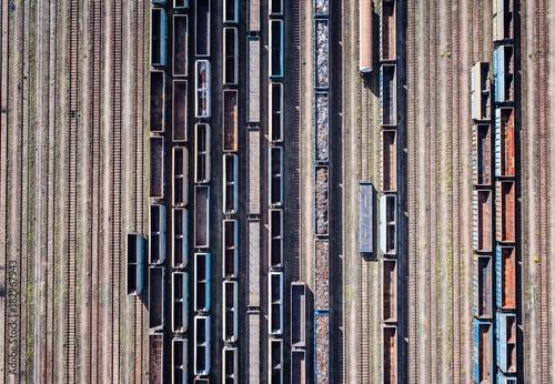 Fotobehang Spoorlijn Aerial drone view on rail transport terminal