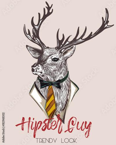 Fotobehang Hipster Hert Fashion hipster illustration with stylish deer