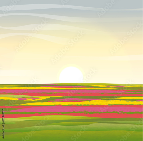 Staande foto Beige Vector landscape. Holland. Floral fields with tulips of red, yellow and pink flowers.