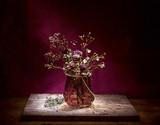 floral bouquet over purple background - 182971796