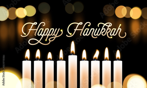 Foto op Canvas Wanddecoratie met eigen foto Happy Hanukkah candle lights bokeh and golden calligraphy text for Jewish holiday greeting card design. Vector Chanukah or Hanukah holy lights festival background of candle blur flame