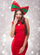 Beautiful santa Woman in red clothes