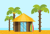 Bungalow flat vector - 182981716