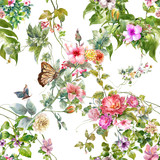 Watercolor painting of leaf and flowers, seamless pattern on white background - 182987910