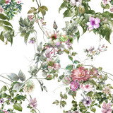 Watercolor painting of leaf and flowers, seamless pattern on white background - 182987955