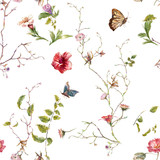 Watercolor painting of leaf and flowers, seamless pattern on white background - 182988114
