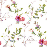 Watercolor painting of leaf and flowers, seamless pattern on white background - 182988162