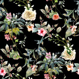 Watercolor painting of leaf and flowers, seamless pattern on dark background - 182988327