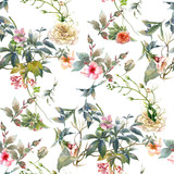 Watercolor painting of leaf and flowers, seamless pattern on white background - 182988328