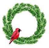 Green watercolor Christmas wreath.
