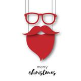 Weihnachtsmann - Brille und Bart als Anhänger - Merry Christmas