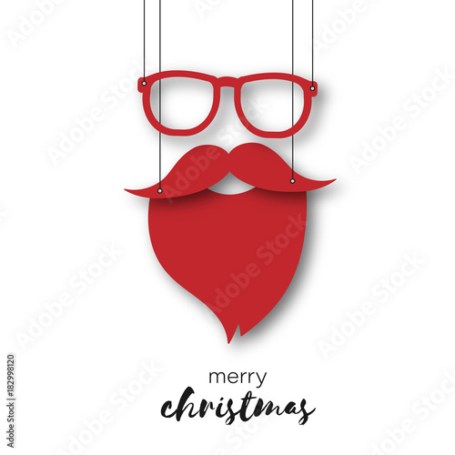 Weihnachtsmann - Brille und Bart als Anhänger - Merry Christmas - 182998120