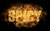 spicy word text logo fire flames design - 182998384