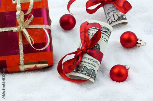 dollar bills with ribbon as a gift of money
