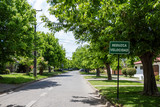 Street in residential area with road sign in Spanish meaning 'Slow down' - 183002957