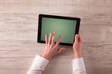 Business hands holding tablet - 183003951