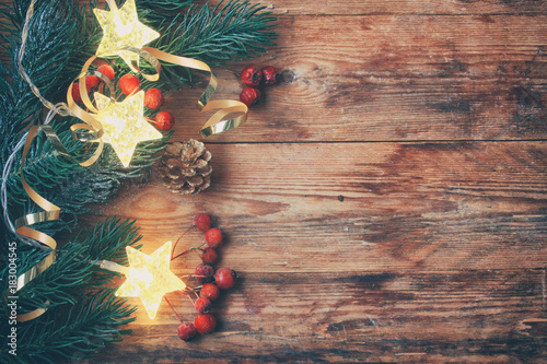 christmas new year greeting card spruce branches border
