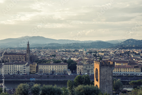 sunset view of florence city,Italy