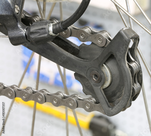 bicycle derailleur rear in the bicycle work shop