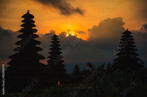 Staande foto Bali Main temple of Bali - Pura Besakih silhouette at sunset,