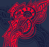 Abstract decorative element in Zentangle or Zendoodle style red on dark for decoration package for print on T-Shirt or other things  - 183009786