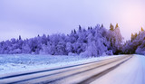 Winter road.Adverse driving conditions.  - 183011168