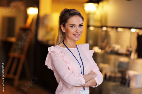 Hotel manager standing in lobby