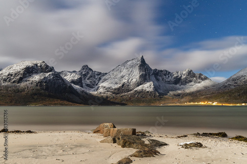 Deurstickers Beige Landscape in Lofoten