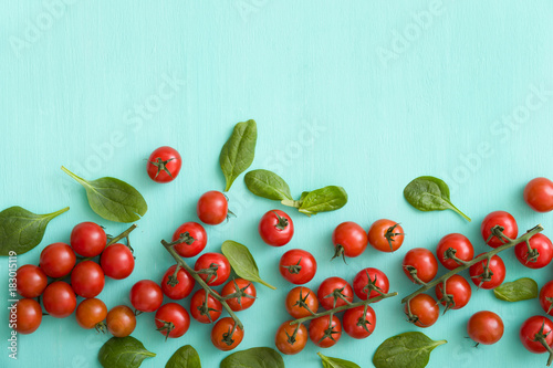 Fotobehang Kersen Top view on many bunches of fresh organic cherry tomatoes with small basil leaves on turquoise background. Healthy food and eating concept.