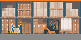 Warehouse interior with goods and pallet trucks - 183015772