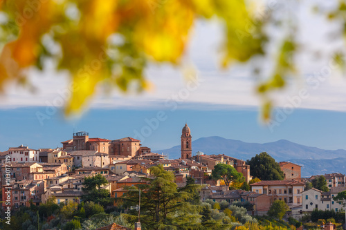 Fotobehang Toscane Beautiful view of church and Old Town of medieval city of Siena in the sunny day through autumn leaves, Tuscany, Italy