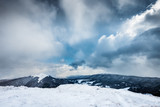 Autumn and winter scenery. Meadows Carynska peak in Bieszczady mountains, Poland