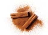 cinnamon sticks with powder isolated on white background - 183019925