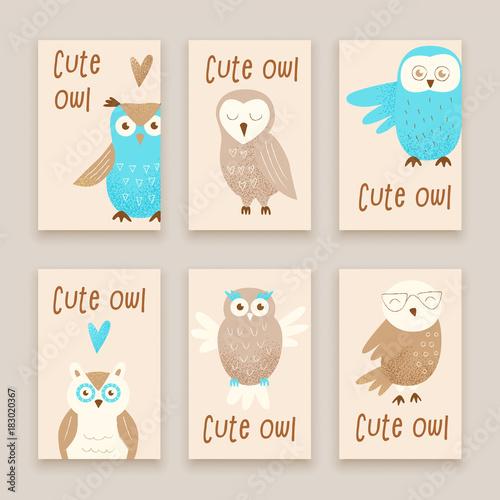 Plexiglas Uilen cartoon Cute owl
