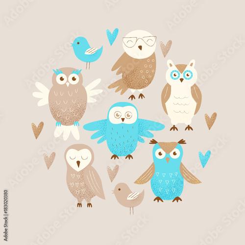In de dag Uilen cartoon Cute owl
