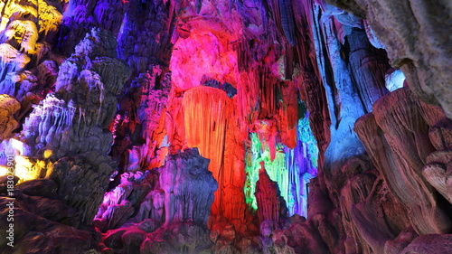 Plexiglas Guilin Cueva de la Flauta de Caña en Guilin, China