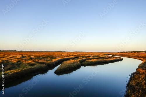 Plexiglas Noordzee Winterabend am Priel
