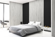 Black and wooden bedroom, side