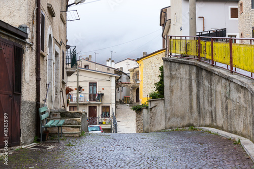 Fototapeta Between the streets of the small village Castel di Sangro, Abruzzo, Italy. October 13, 2017