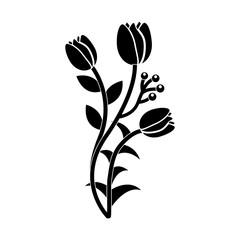 tulip flower icon image vector illustration design  black and