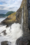 Waterfall and Surf at Sea Lion Cave at Florence, Oregon - 183036989