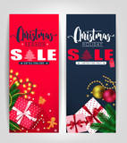 Christmas Season and Holiday Sale Poster or Tags Design Set with Pine Leaves, Gifts, Stars, Christmas Balls, Ginger Bread Man and Tree Promotional Design. Vector Illustration