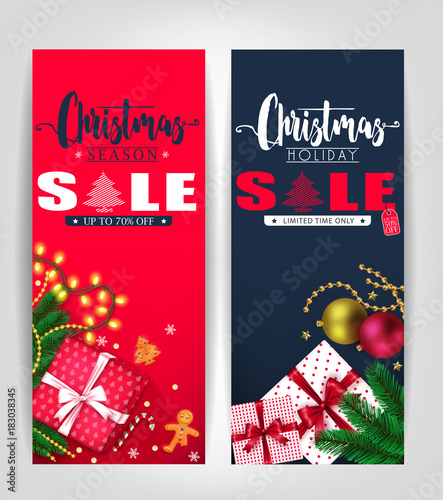 Foto op Canvas Wanddecoratie met eigen foto Christmas Season and Holiday Sale Poster or Tags Design Set with Pine Leaves, Gifts, Stars, Christmas Balls, Ginger Bread Man and Tree Promotional Design. Vector Illustration
