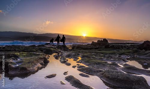 Staande foto Canarische Eilanden Sunset at El Confital beach, La Isleta peninsula, Gran Canaria, Spain