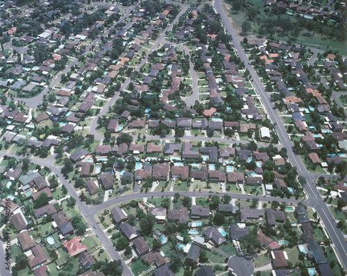 Foto op Plexiglas Sydney Aerial view of sydney suburban homes.
