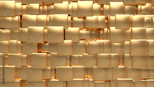 abstract reflection gold cube background 3d rendering